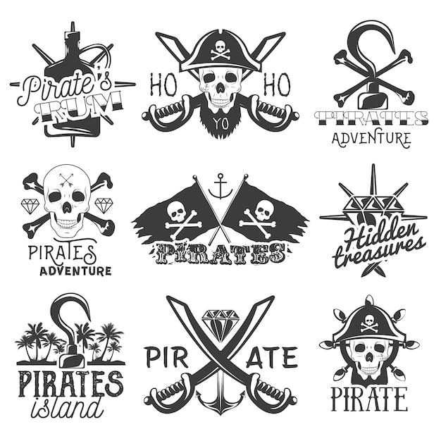 Conjunto de logotipo de piratas Vetor Premium