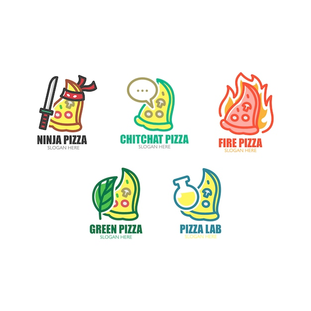 Conjunto de logotipo de pizza Vetor Premium