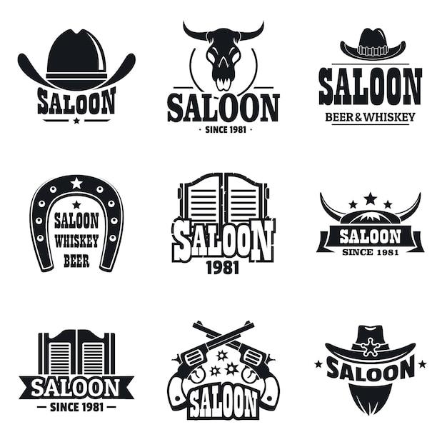 Conjunto de logotipo de salão Vetor Premium