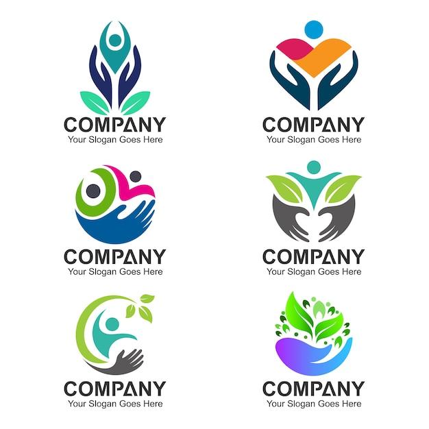 Conjunto de logotipo de saúde e cuidados de pessoas Vetor Premium