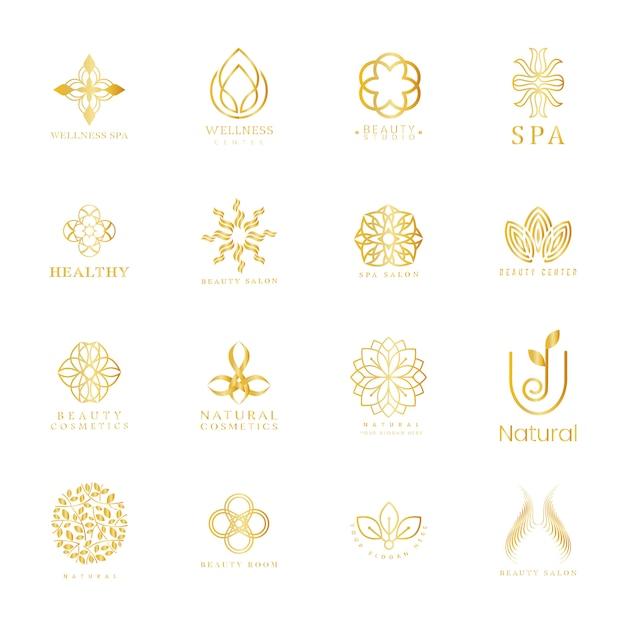 Conjunto de logotipo de spa e beleza Vetor grátis