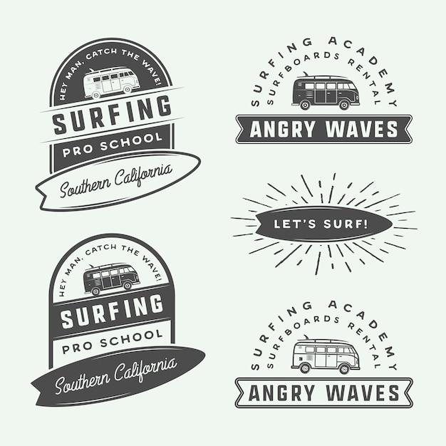 Conjunto de logotipo de surf Vetor Premium