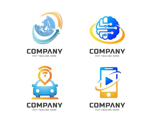 Conjunto de logotipo de tecnologia criativa Vetor Premium