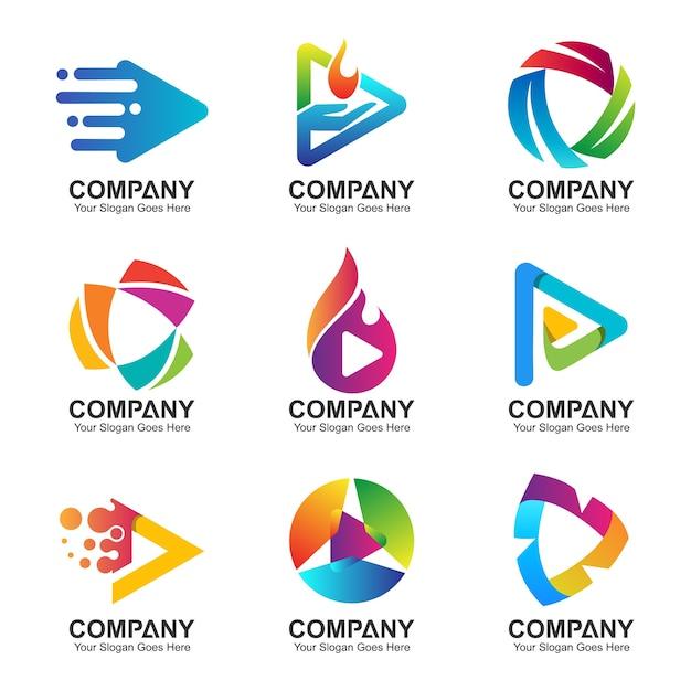 Conjunto de logotipo de tecnologia digital de botão e seta abstrato Vetor Premium