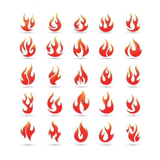 Conjunto de logotipo de vetor de chamas de fogo Vetor Premium