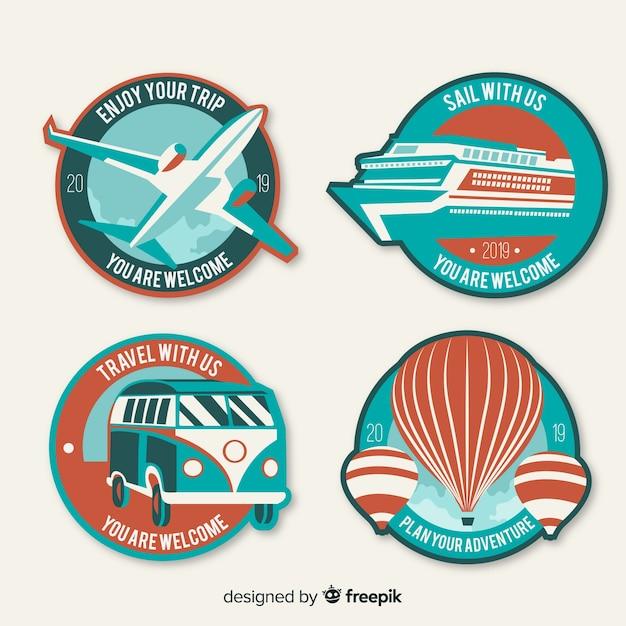 Conjunto de logotipo de viagem plana vintage Vetor grátis
