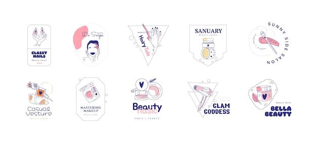 Conjunto de logotipo desenhado à mão plana do salão de beleza Vetor Premium