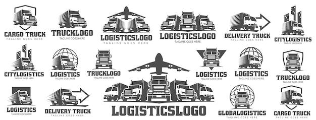 Conjunto de logotipo do caminhão Vetor Premium
