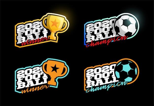 Conjunto de logotipo do campeão de futebol de 2020. Vetor Premium