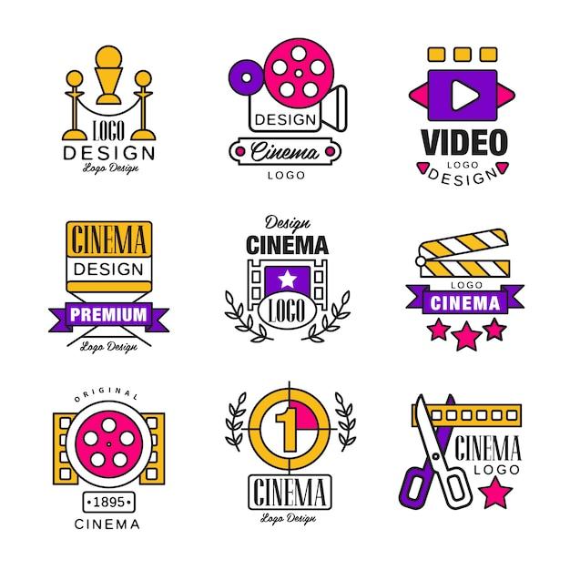 Conjunto de logotipo do cinema, símbolos de vídeo em estilo retro retro ilustrações em um fundo branco Vetor Premium