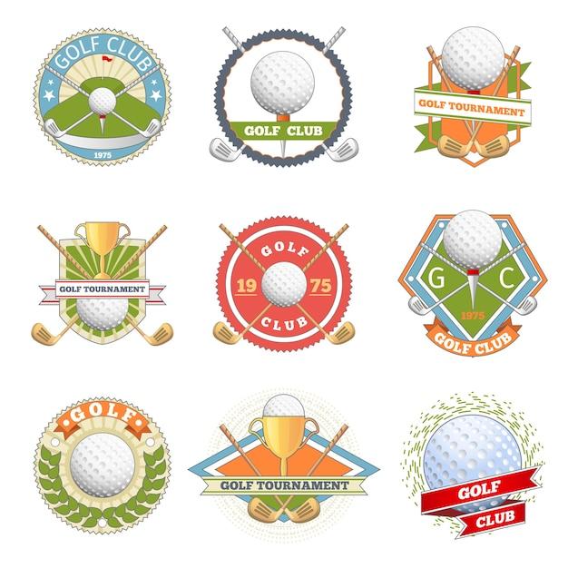 Conjunto de logotipo do clube de golfe. etiquetas e emblemas de golfe. competição de logotipo ou jogo, símbolo de torneio, Vetor grátis