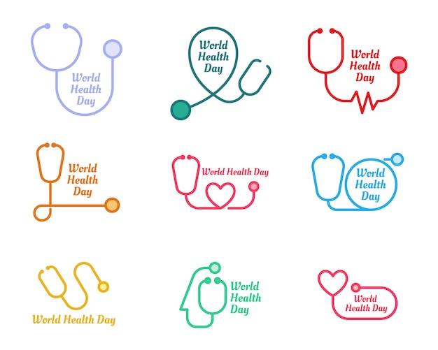 Conjunto de logotipo do dia mundial da saúde Vetor Premium