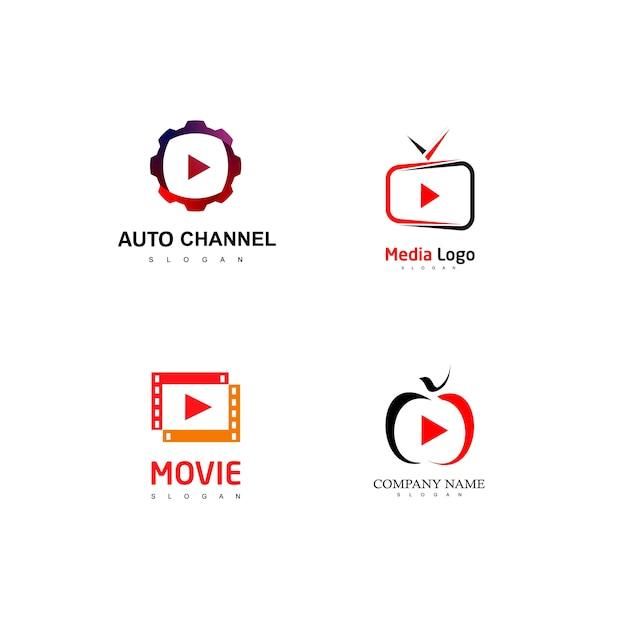 Conjunto de logotipo do media player Vetor Premium