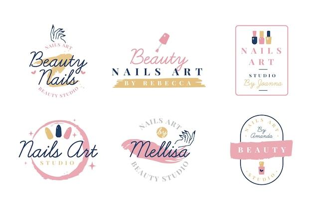 Conjunto de logotipo do nails art studio Vetor Premium