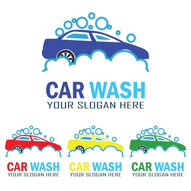 Conjunto de logotipo do serviço de lavagem de carros com espaço de texto para o seu slogan Vetor grátis