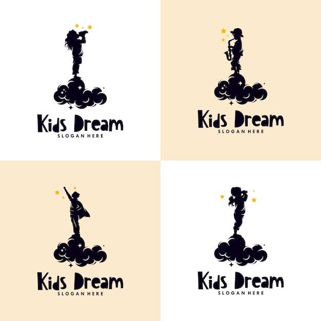 Conjunto de logotipo dos sonhos de crianças Vetor Premium