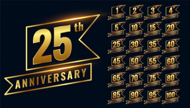 Conjunto de logotipo dourado distintivo premium feliz aniversário Vetor grátis