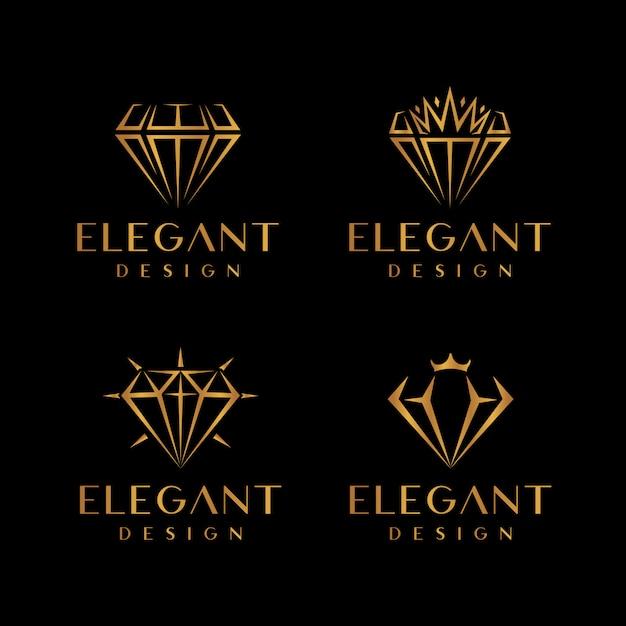 Conjunto de logotipo elegante de ouro diamante e joias Vetor Premium