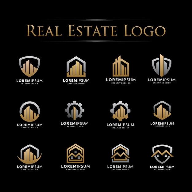 Conjunto de logotipo elegante imobiliária Vetor Premium