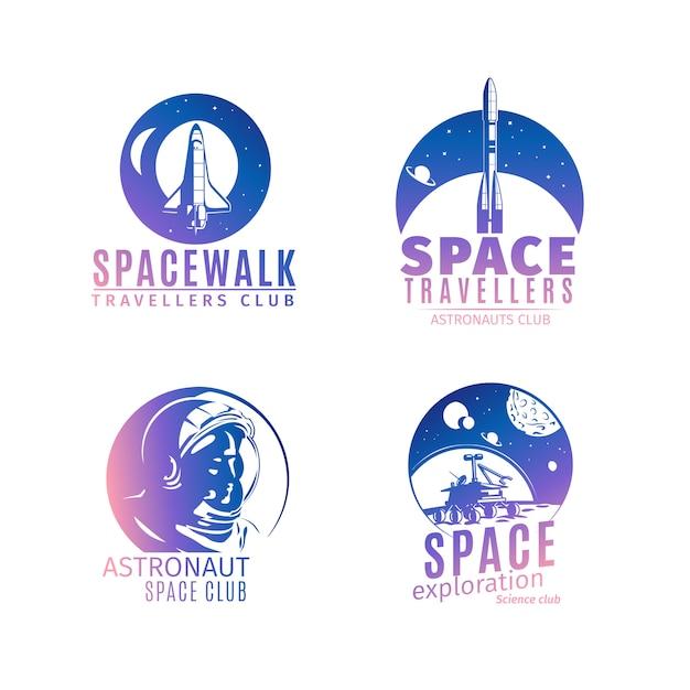 Conjunto de logotipo espaço colorido estilo retro Vetor Premium