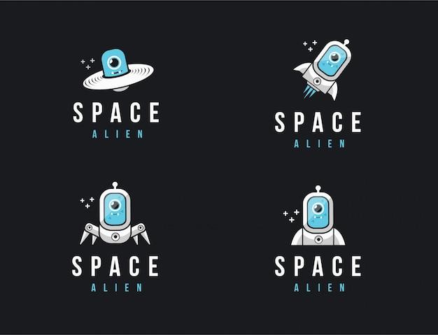 Conjunto de logotipo espaço mascote dos desenhos animados alienígenas Vetor Premium