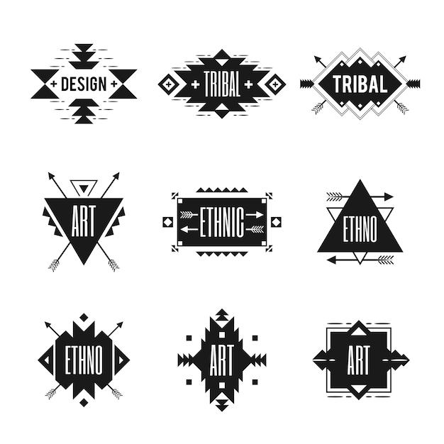 Conjunto de logotipo étnico Vetor grátis