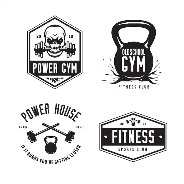 Conjunto de logotipo fitness club esportes clube. Vetor Premium