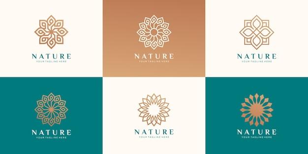 Conjunto de logotipo floral para beleza, cosméticos, ioga e spa. Vetor Premium