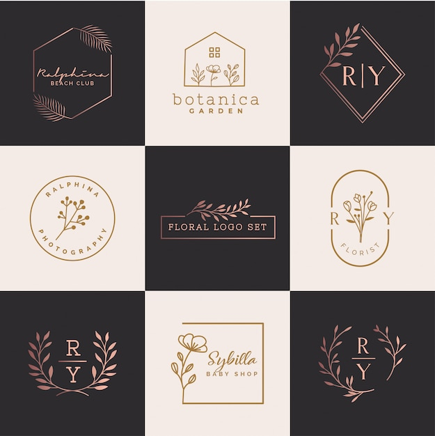 Conjunto de logotipo floral Vetor Premium
