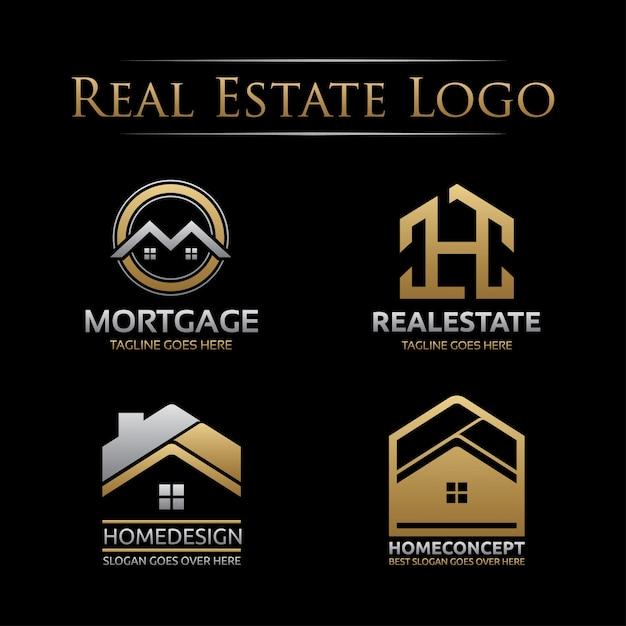 Conjunto de logotipo imobiliário dourado Vetor Premium