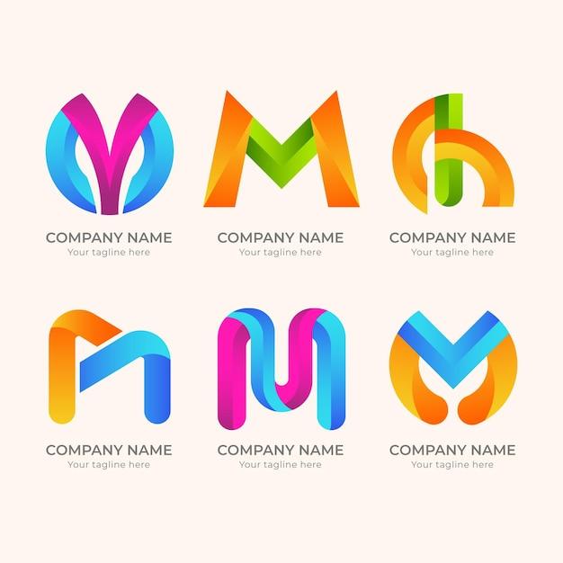 Conjunto de logotipo m detalhado criativo Vetor Premium