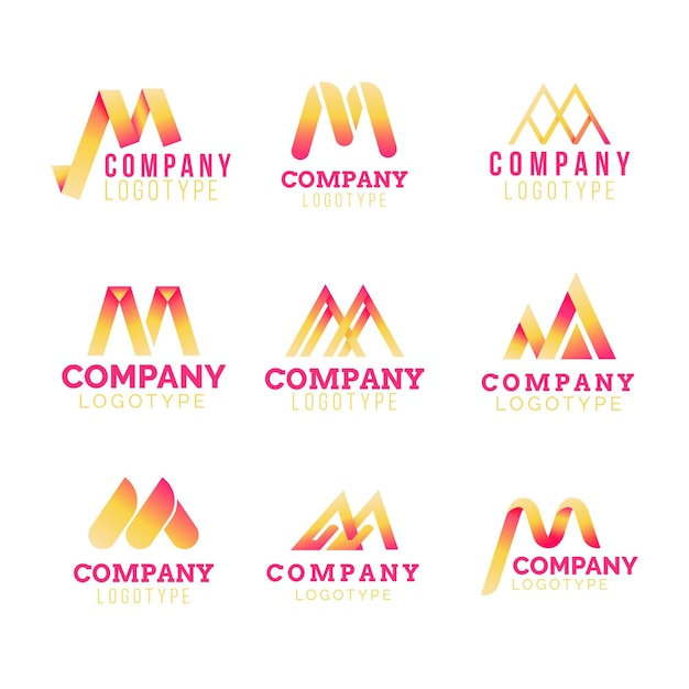 Conjunto de logotipo m Vetor Premium