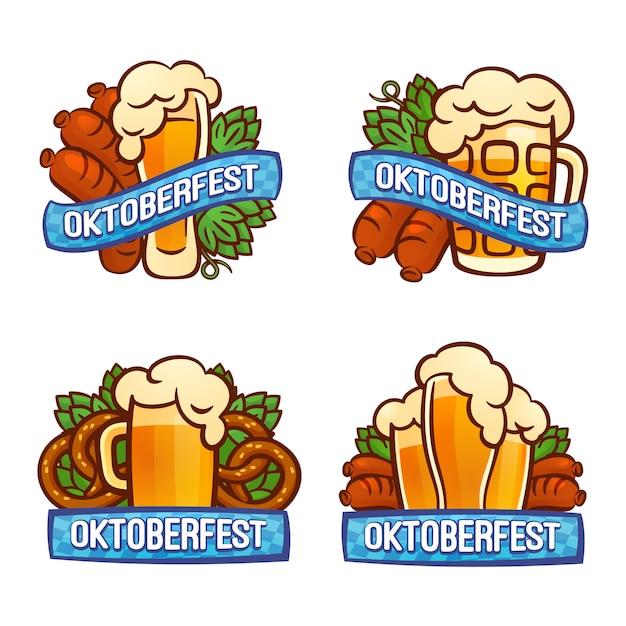Conjunto de logotipo oktoberfest Vetor Premium