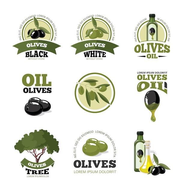 Conjunto de logotipo ou etiquetas de vetor de azeitonas Vetor Premium