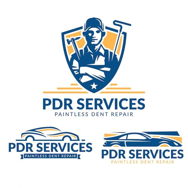 Conjunto de logotipo paint repair dent repair, pacote de logotipo de serviço pdr, coleção Vetor Premium