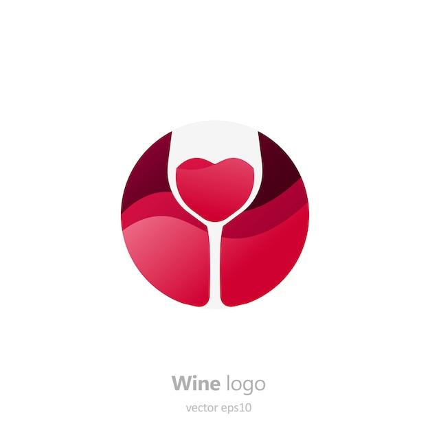 Conjunto de logotipo redondo com um copo de vinho. cápsula com líquido em movimento. Vetor grátis