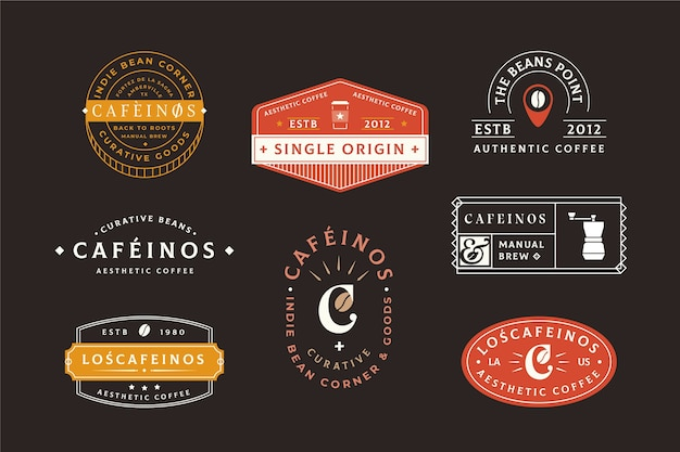 Conjunto de logotipo retrô de café Vetor grátis