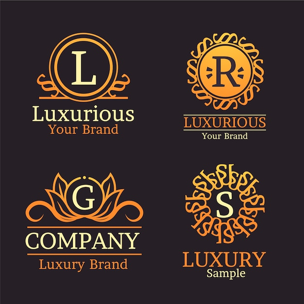 Conjunto de logotipo retrô de luxo Vetor grátis