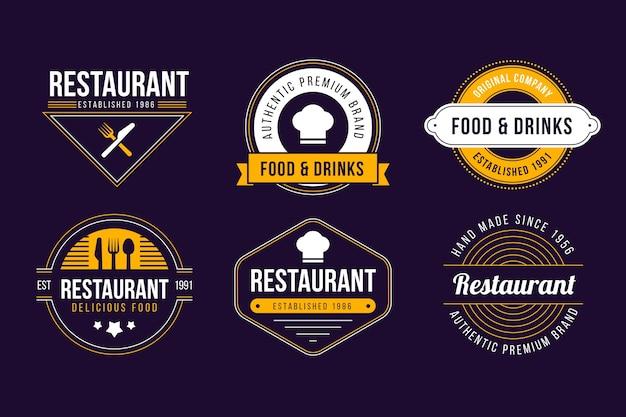 Conjunto de logotipo retrô de restaurante Vetor grátis