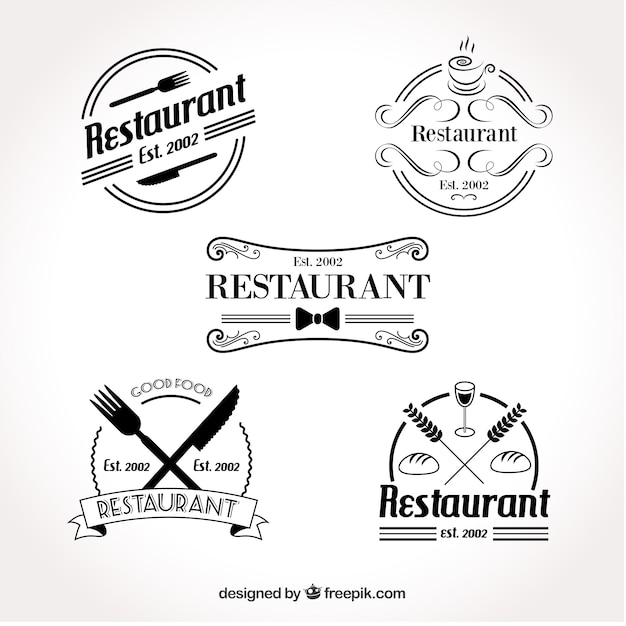 Conjunto de logotipo retro do restaurante Vetor grátis