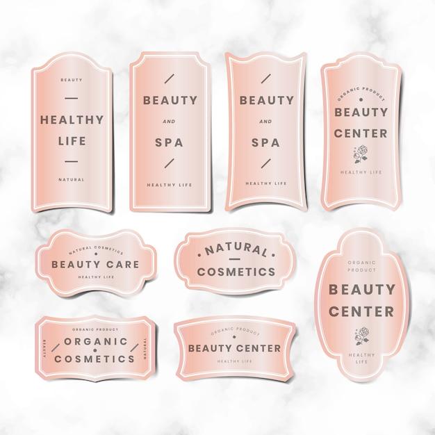 Conjunto de logotipo rosa pastel mínimo Vetor grátis