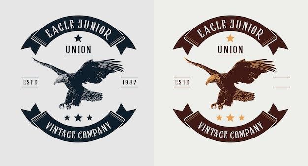 Conjunto de logotipo vintage de águia Vetor Premium