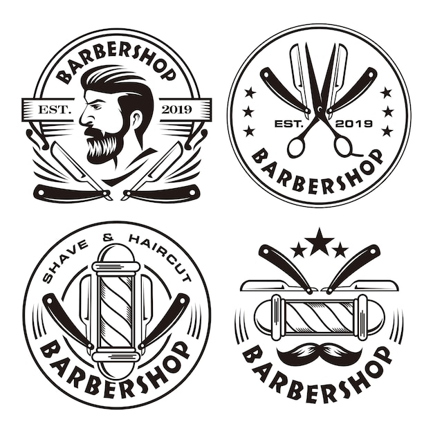 Conjunto de logotipo vintage de barbearia Vetor Premium