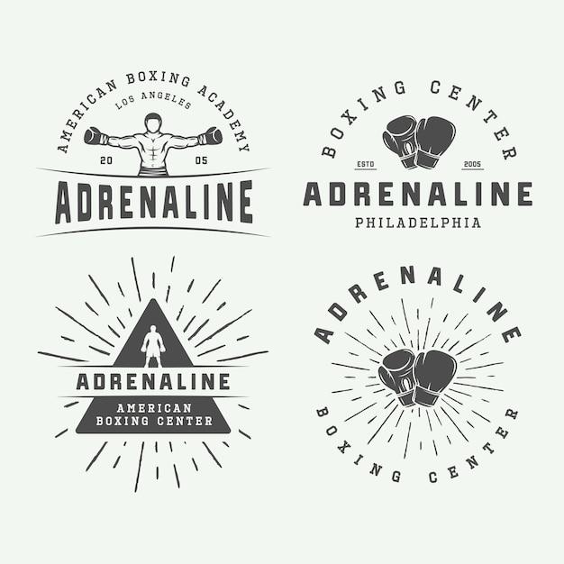 Conjunto de logotipo vintage de boxe e artes marciais Vetor Premium