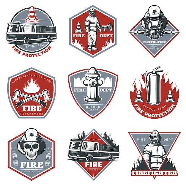 Conjunto de logotipo vintage de combate a incêndios Vetor grátis