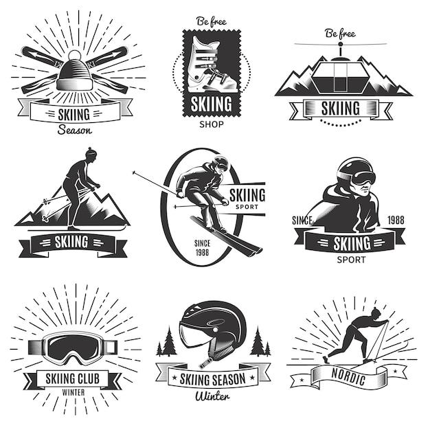Conjunto de logotipo vintage de esqui Vetor grátis