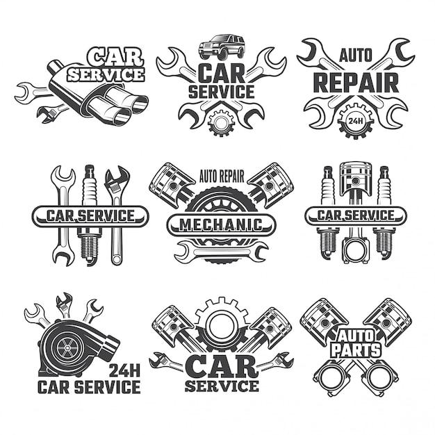 Conjunto de logotipo vintage de ferramentas automobilísticas Vetor Premium
