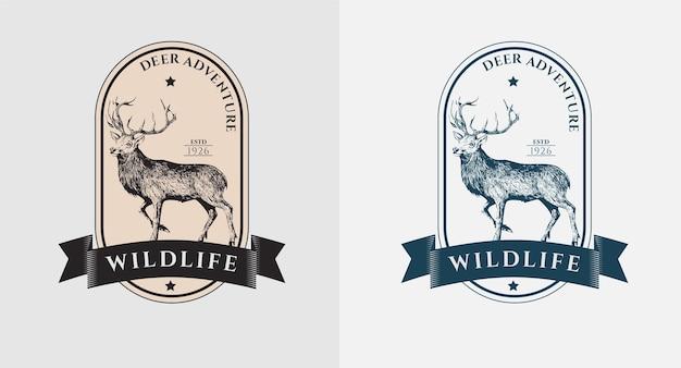 Conjunto de logotipo vintage de veado selvagem Vetor Premium