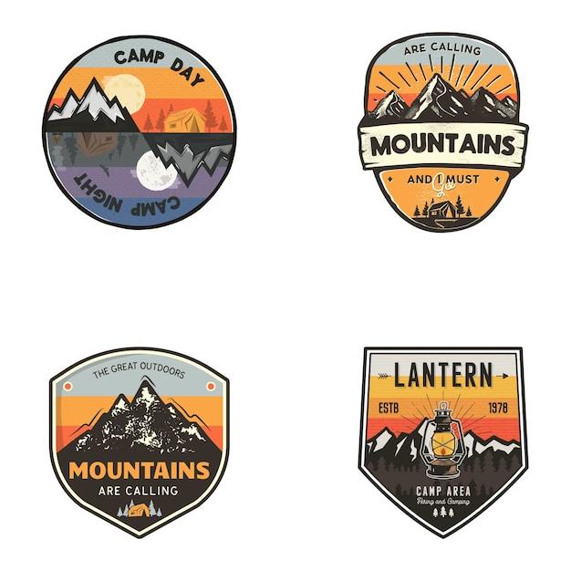 Conjunto de logotipos ao ar livre Vetor Premium