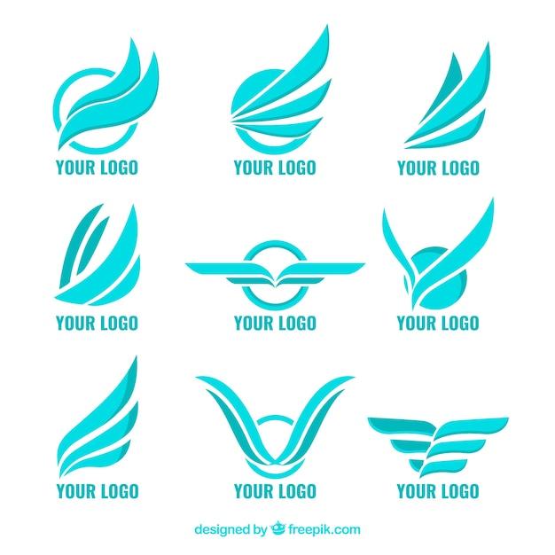 Conjunto de logotipos azuis com asas Vetor Premium